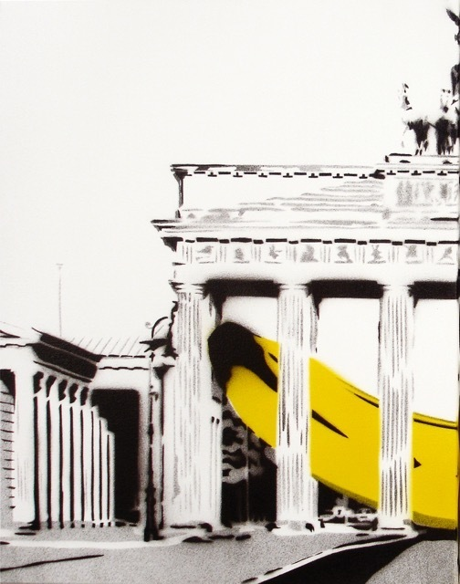 Bananensprayer Thomas Baumgärtel, 'Banane im Brandenburger Tor (left)', 2004, Galerie Kronsbein