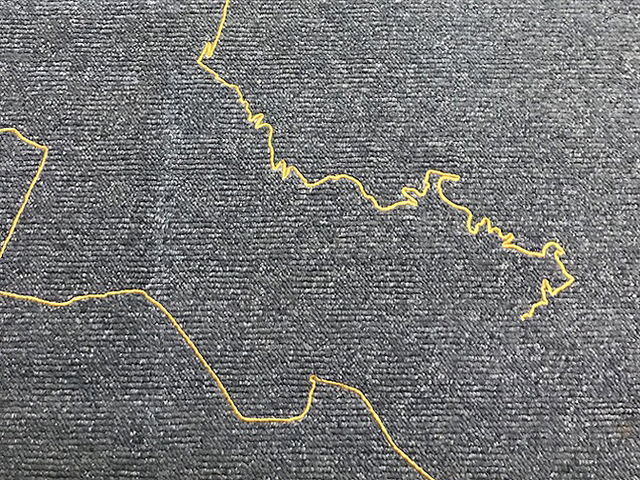 Stéphanie Saadé, 'The Encounter of the First and Last Particles of Dust', 2019, Used carpet, gold thread embroidery, Grey Noise