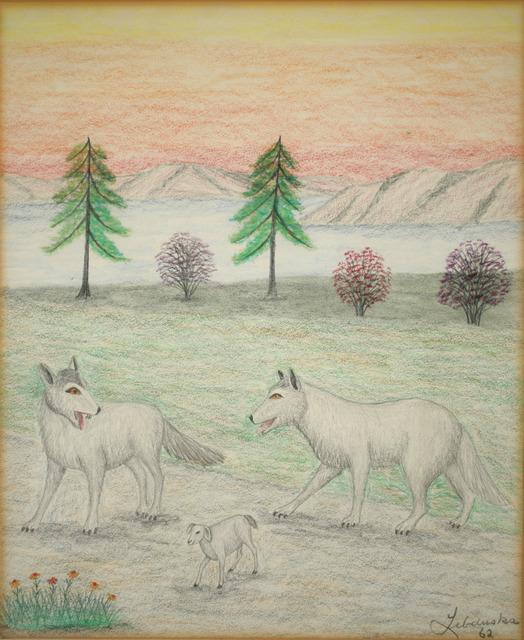 Lawrence Lebduska, 'Wolves and Lamb', 1962, Painting, Pastel, ACA Galleries