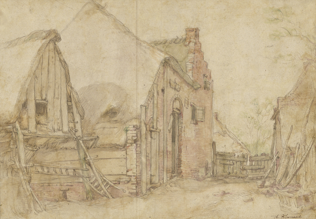Abraham Bloemaert, 'View of a Farm Courtyard (recto), Study of a Tree (verso)', 1600, Black chalk, pen and brown ink, brown wash, watercolor (recto),  black chalk, pen and black ink, gray wash (verso), J. Paul Getty Museum