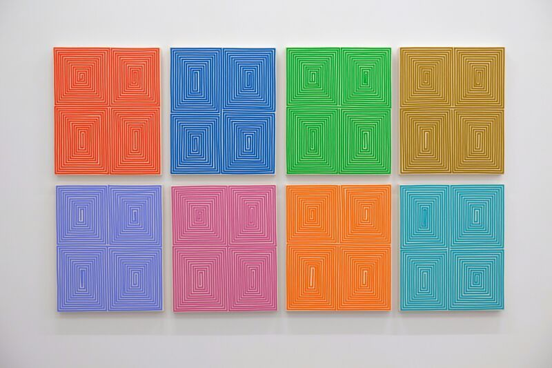 Install shot of Bradley Harms Stacked Coffer Grid.  Each hand applied acrylic on canvas  is 24 x 20""