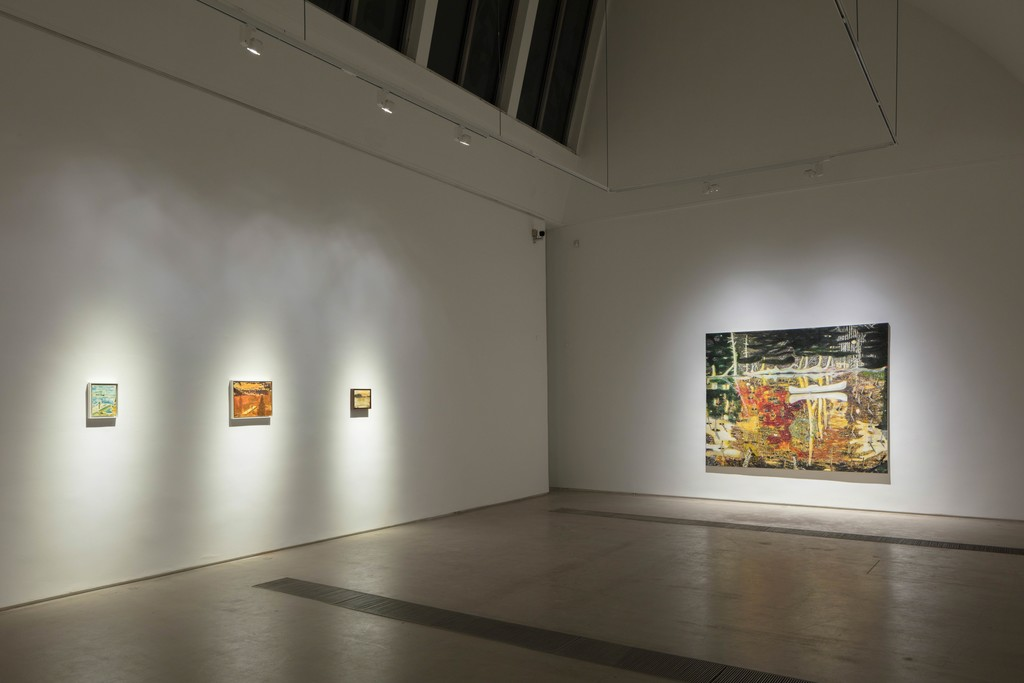 """Installation view of the exhibition Peter Doig """"Cabins and Canoes: the Unreasonable Silence of the World"""" Faurschou Foundation, Beijing, 2017 Artworks in this photo: Jetty (Study)(1994),Jetty Study(1994) , Night Fishing(1994) and Swamped(1990)©Peter Doig Photograph by Kitmin Lee ©Faurschou Foundation"""