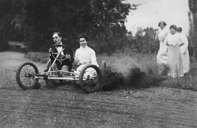 , 'Bobsled race - Zissou and Madeleine Thibault in the bobsled, Mme. Folletête,Tatane & Maman Rouzat, September 20,' 1911, G. Gibson Gallery