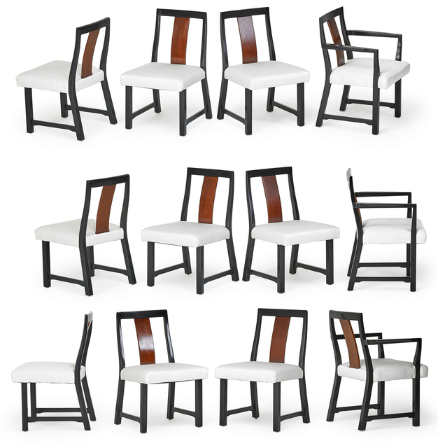 Edward Wormley, 'Set of twelve dining chairs, two arm-, ten side-, Berne, IN', 1950s, Rago