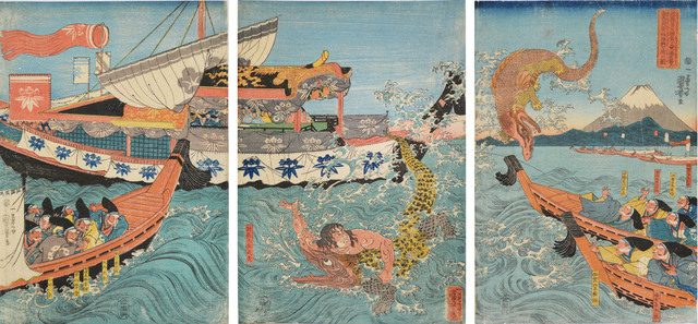 , 'Asahina Fighting Two Crocodiles,' ca. 1842, Ronin Gallery