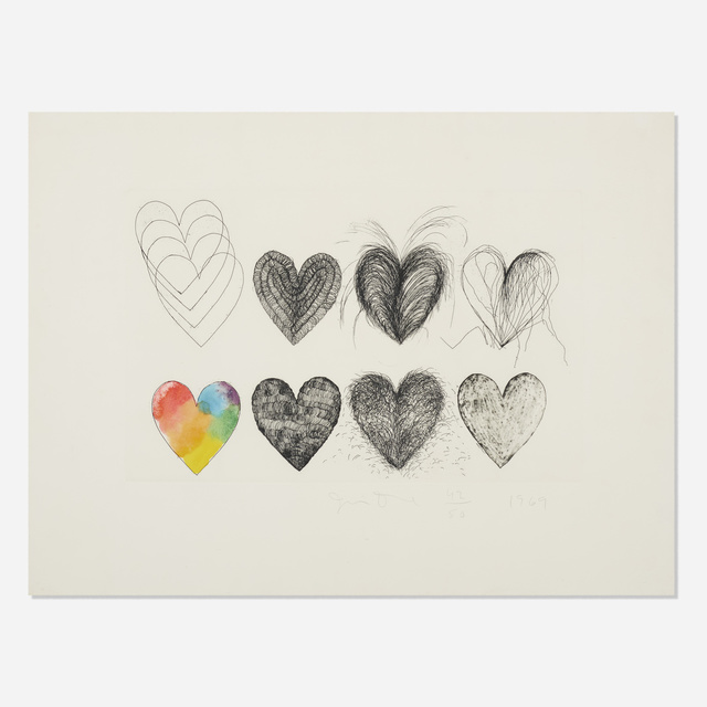 Jim Dine, 'Hearts and a Watercolor', 1969, Print, Etching and watercolor on Chrisbrook handmade paper, Rago/Wright