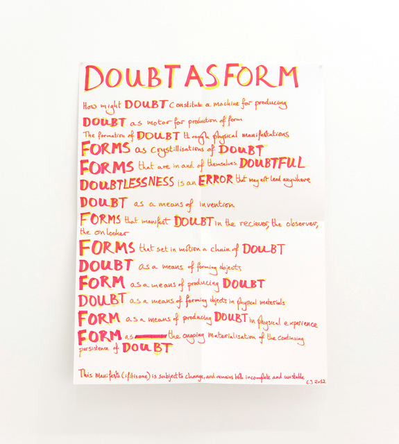 , 'Doubt as form,' 2016, Florence Loewy