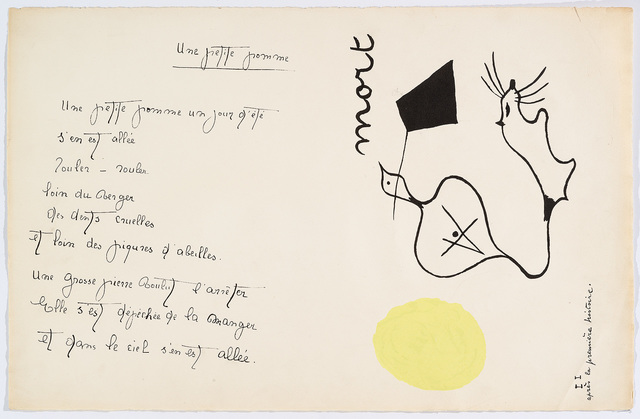 """Joan Miró, '""""Il était une petite pie"""" (There Was a Little Magpie) – Sheet III', 1928, Cerbera Gallery"""