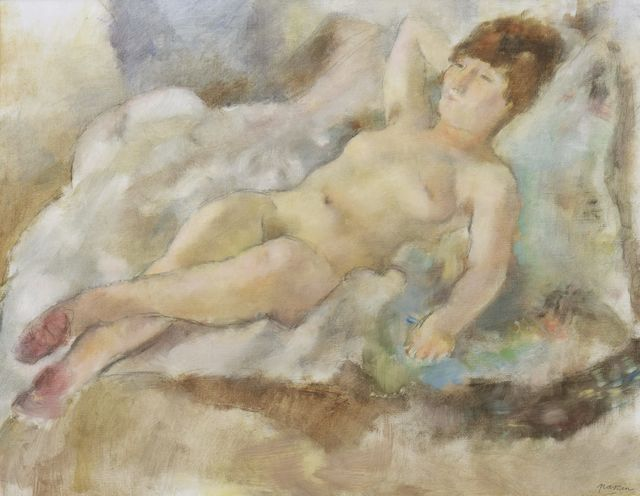 Jules Pascin, 'Rebecca Couchée', 1927, Painting, Oil over pencil on canvas, Stern Pissarro