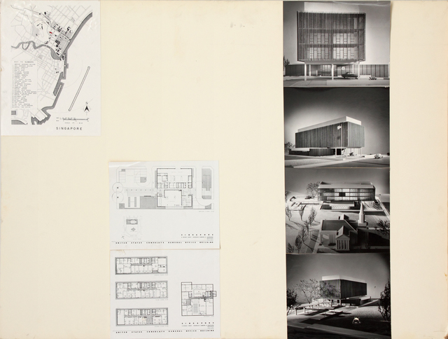 , 'Presentation panel for United States Embassy, Singapore with vintage original photographs and reproductions of renderings,' 1961, Edward Cella Art and Architecture