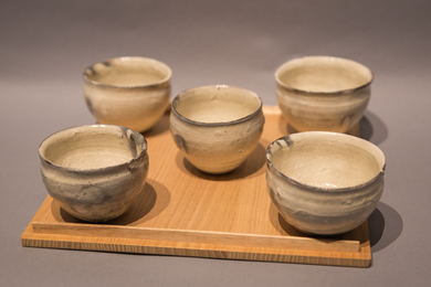 Set of five Kohiki-style wine cups