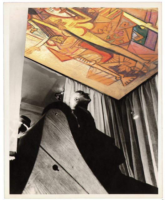 , 'Contemporary photomontage of exhibition view Bloodflames 1947. Max Ernst and Dorothea Tanning in front of Wifredo Lam's Le présent éternel, 1944 (The eternal presence) recreated with Wifredo Lam's, La Réunion, 1 (Groupe),1942.,' , Galerie Gmurzynska