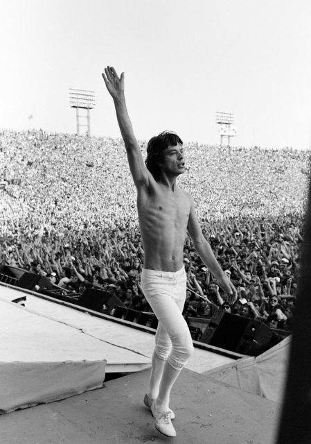 ", 'Mick Jagger on Stage, Philadelphia, US Tour, USA, ""You all right at the back?"",' 1981, ElliottHalls"