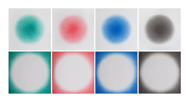 , 'Positive and negative circular gradings (Green, Red, Blue, Black),' 2015, White Space Beijing