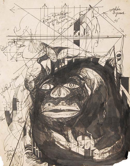 """Sunil Das, ' Avant-garde Gusto, Drawing, Ink on Paper, Black & White, Modern Art """"In Stock""""', 1977, Gallery Kolkata"""
