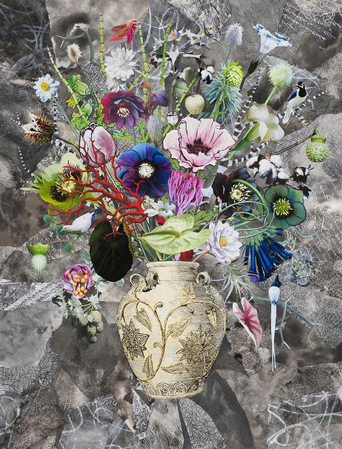 , 'Korean Vase with Hellebores, Prairie Anemone and Elephant Hawk Moth,' 2017, Lyndsey Ingram