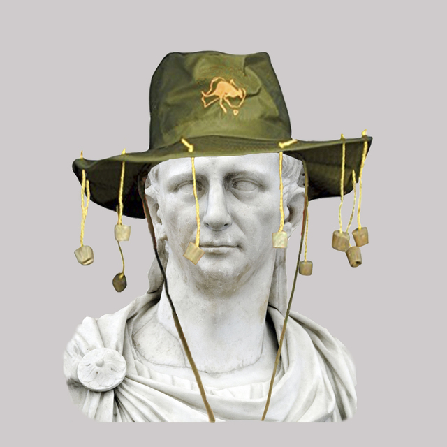 , 'Roman Emperor Claudius/Australian Hat with Corks and String,' 2018, JAUS