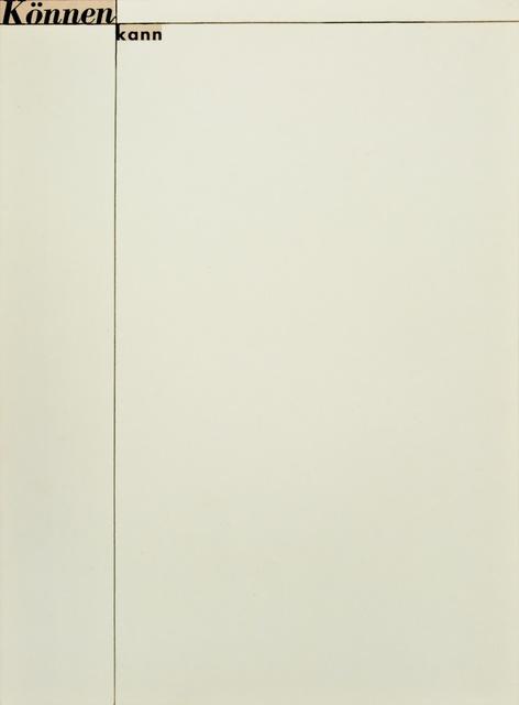 , 'Untitled (Können kann),' 1956, Christine König Galerie