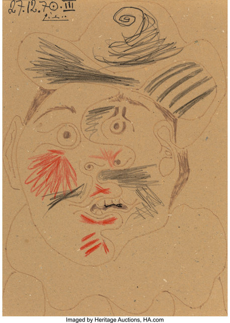 Pablo Picasso, 'Tête d'homme', 1970, Mixed Media, Ink and crayon on cardboard, Heritage Auctions