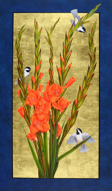 , 'Gladiolas and Carolina Chickadees,' 2018, William Reaves | Sarah Foltz Fine Art
