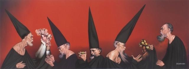 Rafael Coronel, 'El universo rojo', ca. 1990, Print, Digital print on canvas, Galería Mónica Saucedo