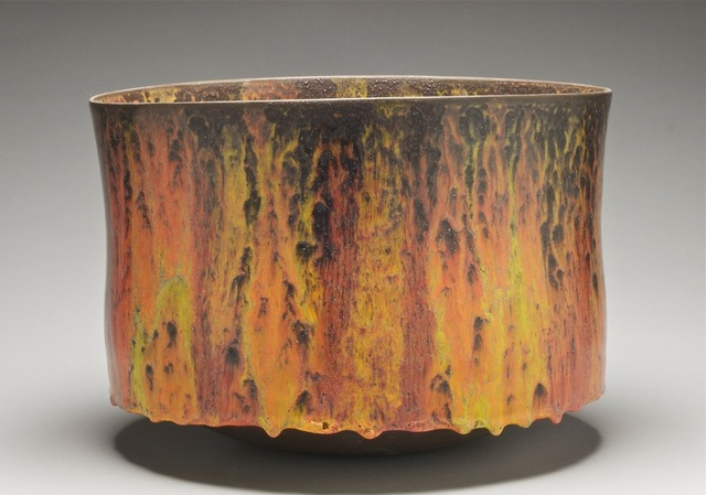 , 'Vessel with drip base, red/orange/yellow glazes,' 2017, Mindy Solomon Gallery