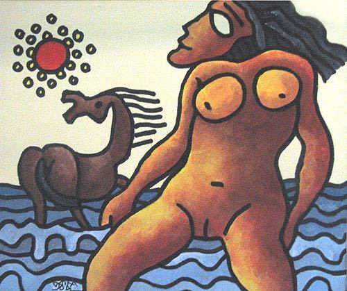 , 'Nude women in water, horse, Mixed Media in red, blue & brown by Master Artist Prakash Karmakar,' 2004, Gallery Kolkata