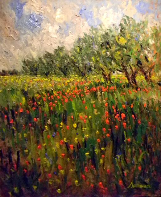 Samir Sammoun, 'Field of Poppies and Olive Trees (Oliviers et Cocquelicots) ', 2011, Painting, Original oil on canvas, Off The Wall Gallery