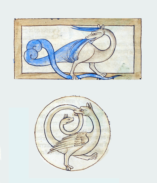, 'A Scitalis; An Amphisbaena (detail), Northumberland Bestiary,' 1250-1260, Machamux