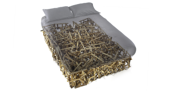Benjamin Rollins Caldwell, 'Wingin' It Twin Size Bed', 2013, Design/Decorative Art, Repurposed Piano Wood, Wing Nuts, Bolts, Lexan