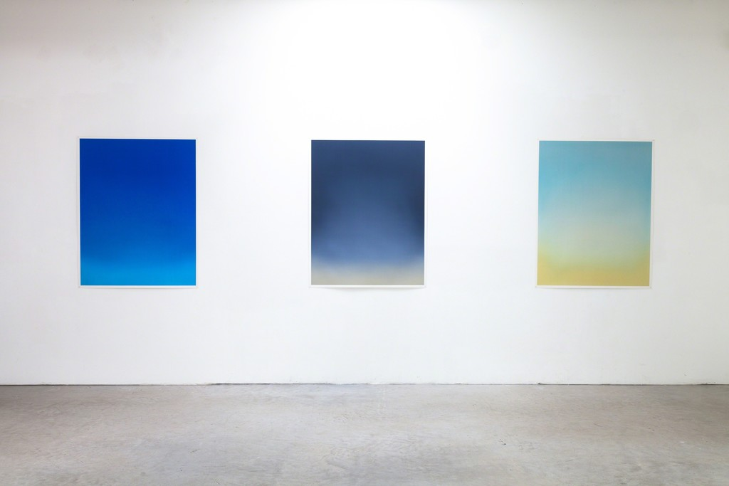 Exhibition View, DAS ESSZIMMER – space for art+, all three: Untitled, 2017, Oil on Paper, 114 x 90cm (paper size) 110 x 86cm (image size) by Eric Cruikshank