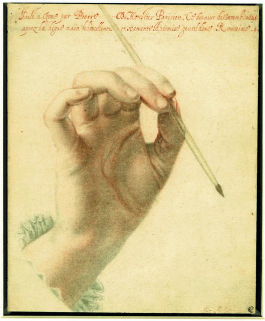 , 'The right hand of Artemisia Gentileschi holding a brush,' 1625, British Museum