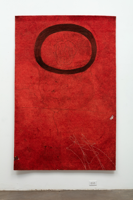 , 'Finding the Universe in Oaxaca, floating oval on deep red ground,' 2016, Erin Cluley Gallery