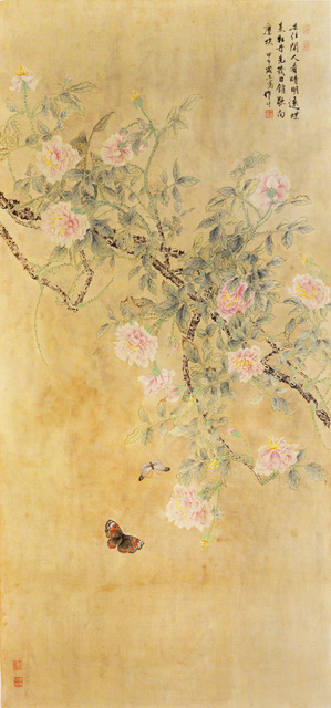 Wang Qian, 'Butterflies Flying to Peonies in Qingming Festival', 2014, Painting, Chinese brush painting, Ronin Gallery