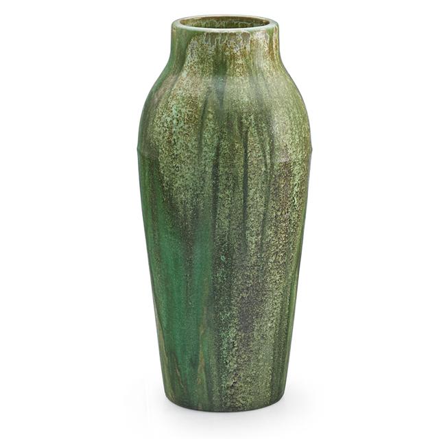 Fulper Pottery, 'Tall Vase, Flemington, NJ', 1910s-20s, Design/Decorative Art, Tall Vase, Leopard Skin Crystalline Glaze, Rago/Wright