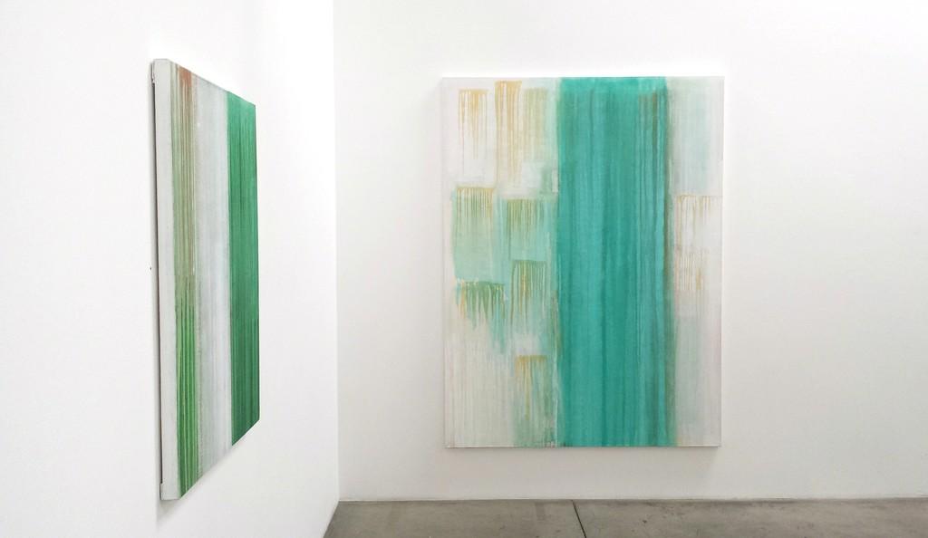 "Tony Beauvy, ""New Paintings"" Installation Left: ""Untitled LVI,"" 2015, Acrylic on canvas, 40"" x 30"" Right: ""Untitled LIX,"" 2015, Acrylic on canvas, 80"" x 60"""