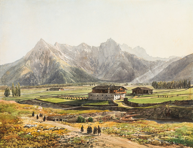 , 'Churchgoer on their Way Home near St. Ulrich with View to the Loferer Steinberge,' ca. 1860, Galerie Kovacek & Zetter