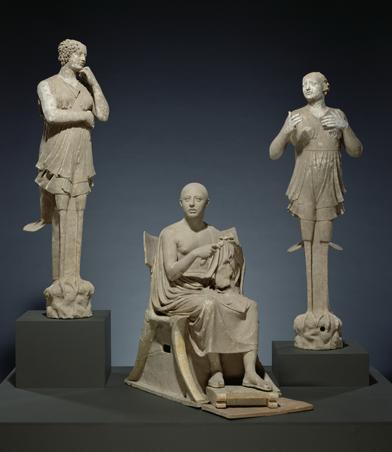 'Sculptural Group of a Seated Poet and Sirens (2) with unjoined fragmentary curls (304)', 350 -300 BCE, J. Paul Getty Museum