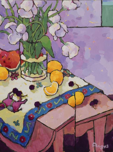 , 'White Tulips with Cherries over Violet,' 2018, Ventana Fine Art