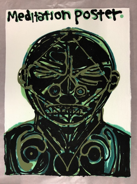 Nicole Eisenman, 'Meditation Poster II (green)', 2018, Anton Kern Gallery
