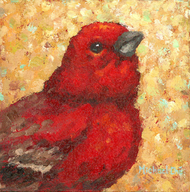 """Michael-Che Swisher, '""""Do The Right thing"""" Oil portrait of a red bird with neutral yellow background', 2019, Eisenhauer Gallery"""