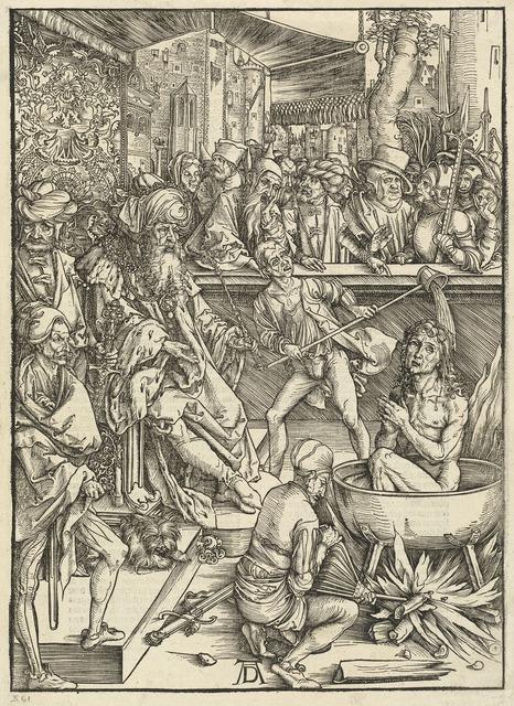 Albrecht Dürer, 'The Martyrdom of Saint John', 1498, Print, Woodcut on laid paper, National Gallery of Art, Washington, D.C.