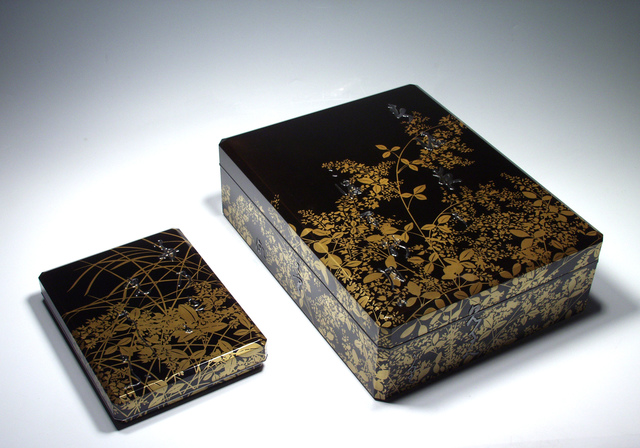 , 'Writing Box and Document Box, Poem, Grasses and Flowers(T-1261-1),' Taisho era (1912_1926)-1920s, Erik Thomsen