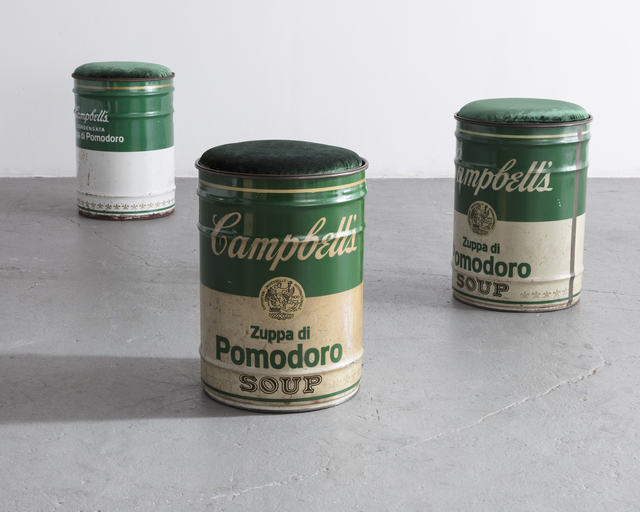 ", '""Homage to Andy Warhol"" Campbell's Soup can stool,' ca. 1973, R & Company"