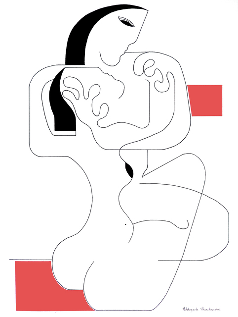 Hildegarde Handsaeme, 'Le calin with red accent', 2019, The Art Cocoon