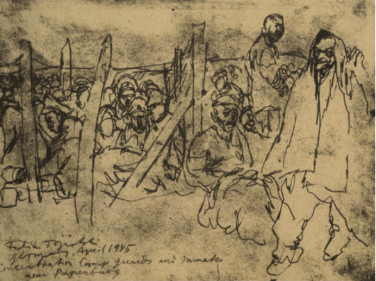 Feliks Topolski, 'Camp Guards and Inmates after Liberation', 1945, Ben Uri Gallery and Museum