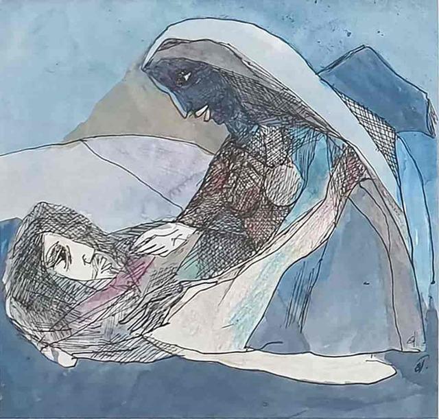 "Badri Narayan, 'The Sleeping Monk & Woman, Watercolour on Paper by Padmashree Modern Artist ""In Stock""', 2007, Gallery Kolkata"