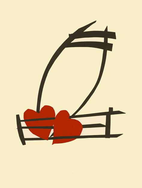 Claes Oldenburg, 'Musical Hearts', 2012, Print, 2-color screenprint, Upsilon Gallery