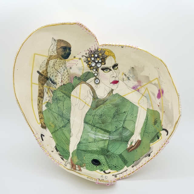 Yurim Gough, 'A MAN WHO LOVES DRESSING UP! ', 2020, Sculpture, Life drawing on stoneware with ceramic pencil, transfers, gold, thread, Paradigm Gallery + Studio