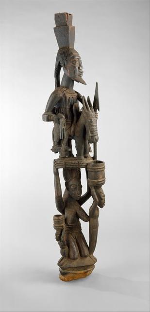 Olowe of Ise, 'Veranda Post: Equestrian Figure and Female Caryatid', ca. 1938, The Metropolitan Museum of Art